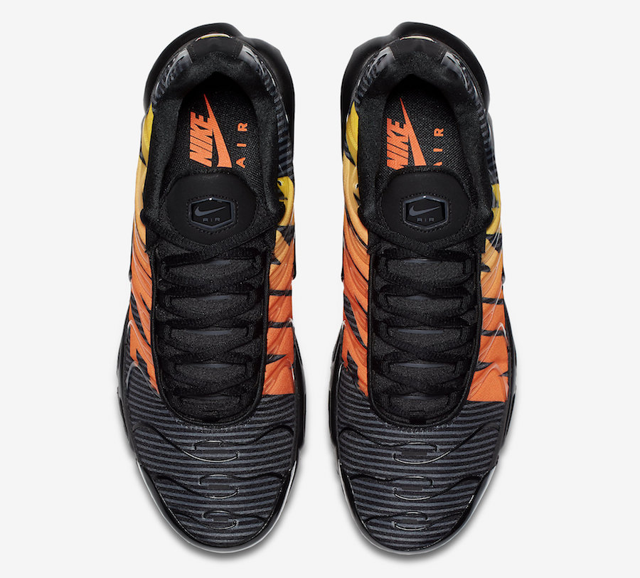 The Striped Nike Air Max Plus In Black And Orange S R D